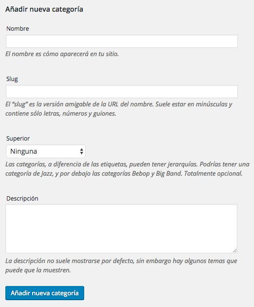 Edición de categorías en WordPress