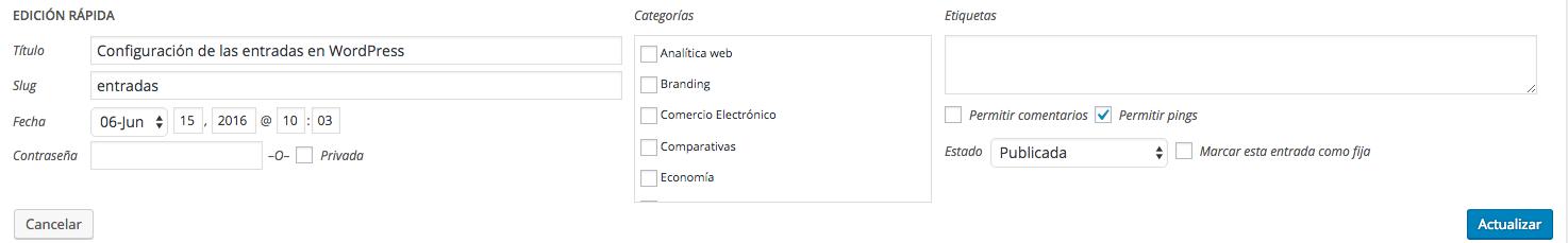 """Edición rápida en la sección de """"Todas las entradas"""" en WordPress"""